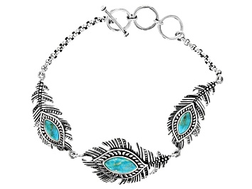 Picture of Turquoise Rhodium Over Sterling Silver Feather Bracelet