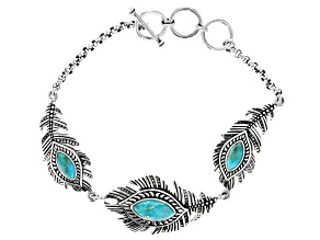 Turquoise Rhodium Over Sterling Silver Feather Bracelet