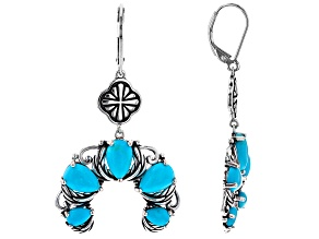 Blue Pear Shaped Turquoise Rhodium Over Silver Dangle Earrings