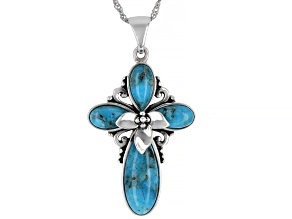 "Blue Turquoise Rhodium Over Sterling Silver Cross Pendant With 18"" Chain"