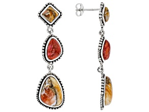 Spiny Oyster Shell & Coral Rhodium Over Sterling Silver Earrings