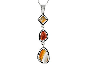 "Spiny Oyster Shell and Coral Rhodium Over Silver Pendant With 18"" Chain"