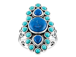 Blue Lapis Lazuli And Blue Turquoise Sterling Silver Ring