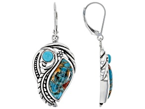 Blended Spiny Oyster Shell & Turquoise Rhodium Over Silver Earrings
