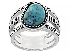 Turquoise Rhodium Over Sterling Silver Ring