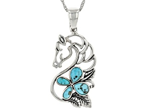 """Turquoise Rhodium Over Silver Horse Enhancer with 18"""" Chain"""