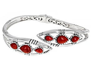 Red Sponge Coral Rhodium Over Sterling Silver Bypass Bracelet