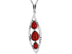 "Red Sponge Coral Rhodium Over Silver 3 Stone Pendant with 18"" Chain"