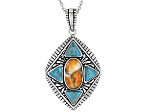 "Orange Spiny Oyster Shell & Turquoise Rhodium Over Sterling Silver Pendant With 18"" Chain"