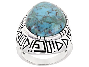 Free Form Turquoise Rhodium Over Sterling Silver Ring