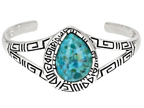 Free-Form Turquoise Rhodium Over Sterling Silver Cuff Bracelet