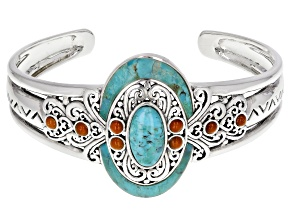 Turquoise and Coral Rhodium Over Sterling Silver Cuff Bracelet