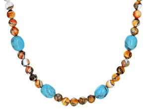 Turquoise and Spiny Oyster Shell Rhodium Over Sterling Silver Necklace