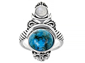 Turquoise and Rainbow Moonstone Rhodium Over Silver Celestial Ring