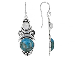 Turquoise and Rainbow Moonstone Rhodium Over Silver Celestial Earrings