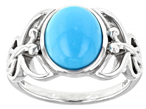 Sleeping Beauty Turquoise with Butterfly Detailing Rhodium Over Sterling Silver Ring