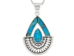 """Turquoise Rhodium Over Sterling Silver Enhancer with 18"""" Chain"""