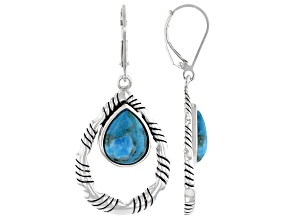 Pear Shaped Blue Turquoise Rhodium Over Silver Dangle Earrings