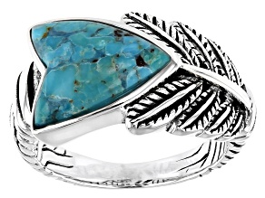 Turquoise Rhodium Over Silver Arrow Ring