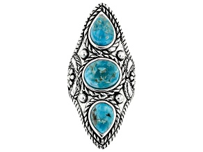 Blue Turquoise Rhodium Over Sterling Silver 3- Stone Ring