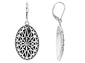 Floral Design Rhodium Over Sterling Silver Earrings