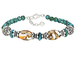 Blue Turquoise and Spiny Oyster Shell Station Bracelet