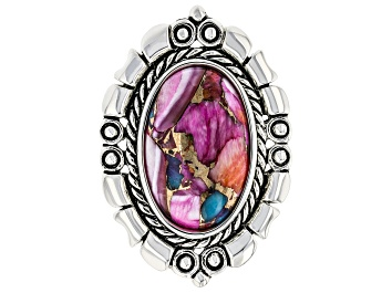 Picture of Purple Spiny Oyster Blended with Turquoise Rhodium Over Sterling Silver Ring