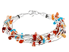 Sleeping Beauty Turquoise and Spiny Oyster Rhodium Over Silver Multi Strand Bracelet