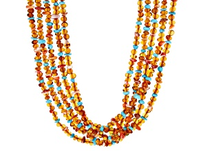 Sleeping Beauty Turquoise, Spiny Oyster, Amber Rhodium Over Silver Nugget 5- Strand Necklace