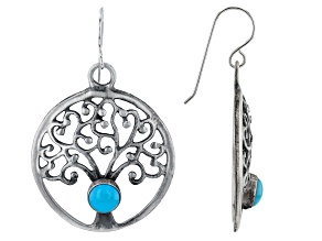 Round Sleeping Beauty Turquoise Rhodium Over Silver Tree of Life Earrings