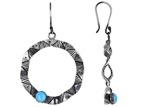 Blue Sleeping Beauty Turquoise Rhodium Over Silver Southwestern Print Earrings