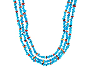 Sleeping Beauty Turquoise and Spiny Oyster Shell Rhodium Over Silver 3-Strand Necklace