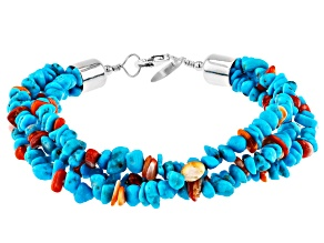 Sleeping Beauty Turquoise and Spiny Oyster Shell Rhodium Over Silver 3-Strand Bracelet