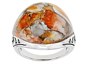 Orange Spiny Oyster with Bronze Matrix Rhodium Over Sterling Silver Dome Ring