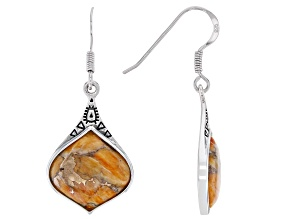 Orange Spiny Oyster Shell Rhodium Over Sterling Silver Dangle  Earrings