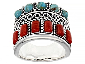 Blue Turquoise and Red Sponge Coral Rhodium Over Silver Ring