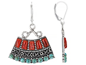 Blue Turquoise and Red Sponge Coral Dangle Earrings