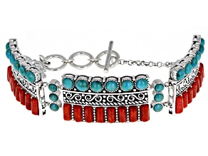 Blue Turquoise and Red Sponge Coral Station Bracelet