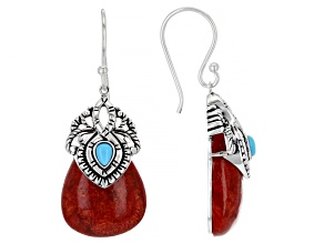 Sleeping Beauty Turquoise and Red Sponge Coral Rhodium Over Silver Earrings