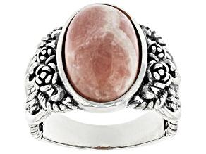Pink Rhodochrosite Rhodium Over Sterling Silver Ring