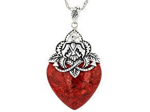 """Coral Rhodium Over Sterling Silver Heart Shaped Pendant with 18"""" Chain"""