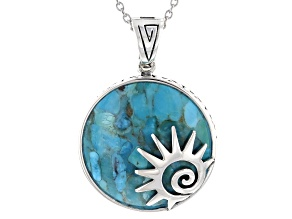 Blue Turquoise Rhodium Over Sterling Silver Sun Enhancer with Chain