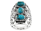 Blue Turquoise Rhodium Over Sterling Silver 3-Stone Ring