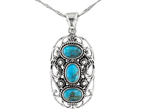 "Blue Turquoise Rhodium Over Sterling Silver 3-Stone Enhancer with 18"" Chain"
