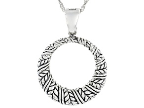 """Round Rhodium Over Sterling Silver Oxidized Enhancer with 18"""" Chain"""