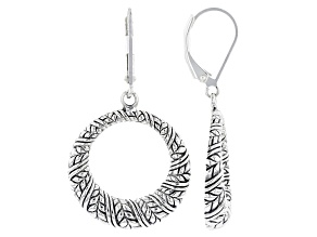 Round Rhodium Over Sterling Silver Oxidized Dangle Earrings