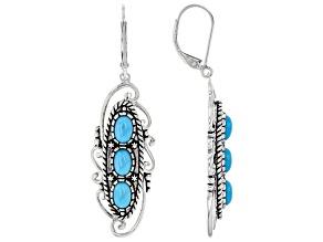 Sleeping Beauty Turquoise Rhodium Over Silver 3 Stone Earrings