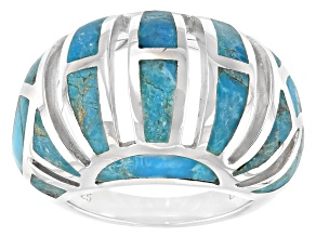 Freeform Blue Turquoise Rhodium Over Silver Inlay Ring
