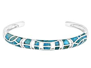 Freeform Blue Turquoise Rhodium Over Silver Inlay Cuff Bracelet