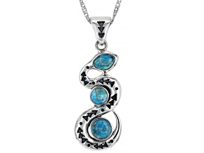 """Blue Turquoise Rhodium Over Silver 3-Stone Snake Enhancer with 18"""" Chain"""